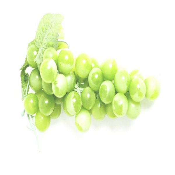 bunch of artificial green grapes with green leaf foliage