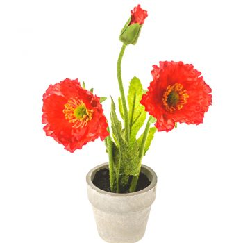 Flame Red Artificial Poppies in Pot