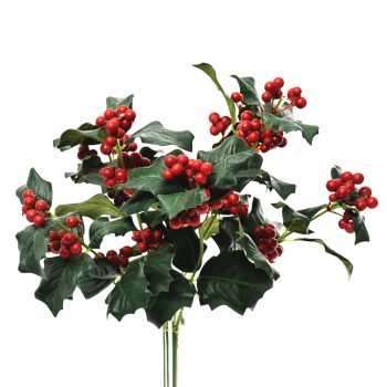 Artificial holly leaf spray with red berries