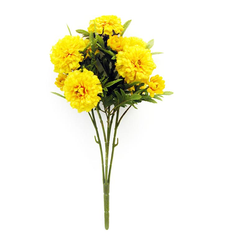 Artificial Marigold Bush Yellow Decorative Plant