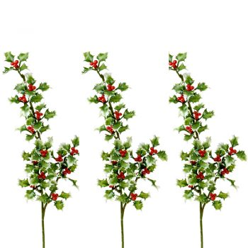 Artificial Holly Spray Variegated Green