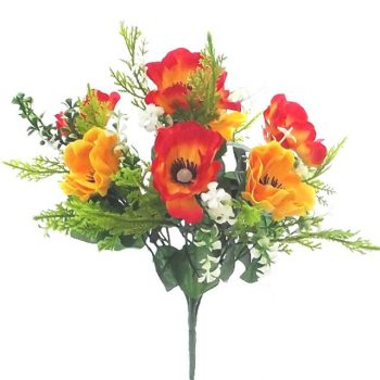 Yellow and Orange Artificial Silk Anemone Bunch