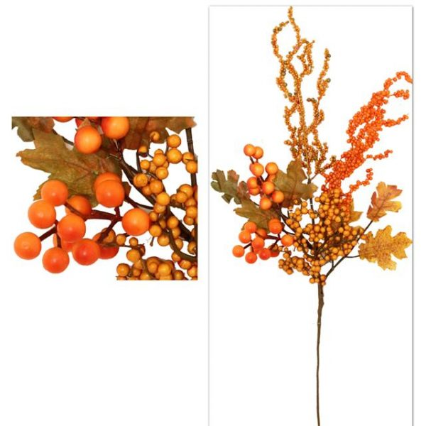 Artificial Autumn Berry Stem - Autumn Orange