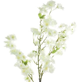 artificial white cherry blossom branch