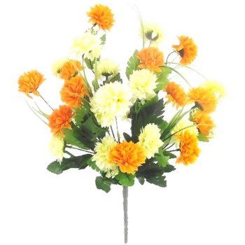 Artificial Chrysanthemum Bush -Cream & Orange
