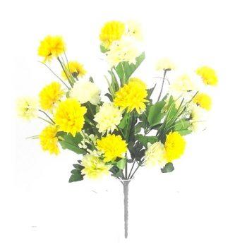 Artificial Chrysanthemum Bush - Cream and Yellow
