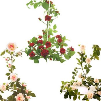 garlands of artificial roses
