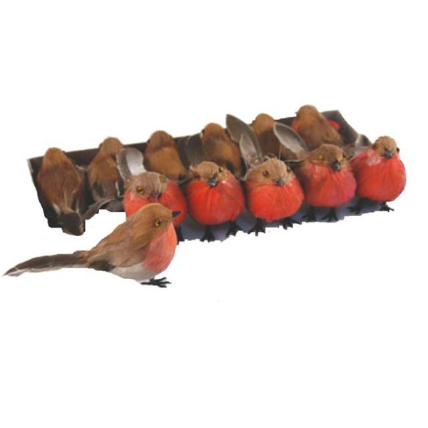 Pack of 6 Christmas Robins With Wired Feet