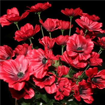 flame red artificial poppies