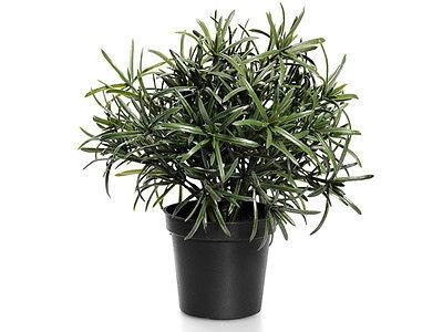 artificial rosemary plant in black planter