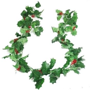 Artificial Holly and Berry Garland