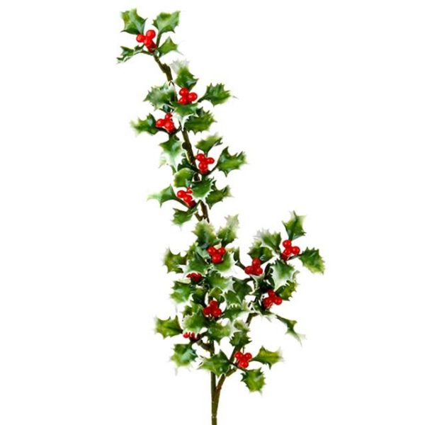 artificial holly spray with variegated leaves