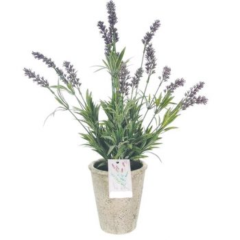 large potted artificial lavender plant