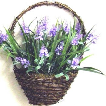 hanging basket filled with artificial lavender