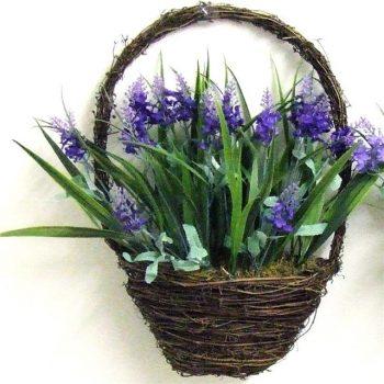 artificial lavender in a wicker basket