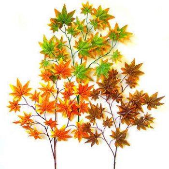 Artificial Maple Leaf Spray - Green and Orange