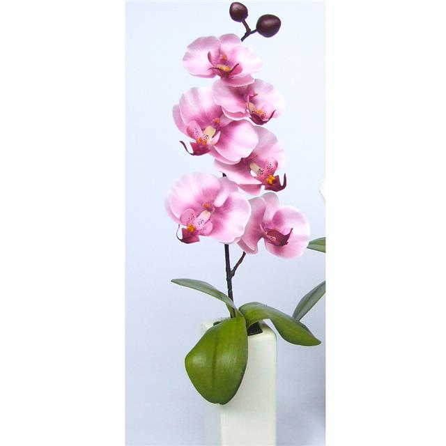 Artificial Mini Orchid Potted Pale Pink White Vase Decorative
