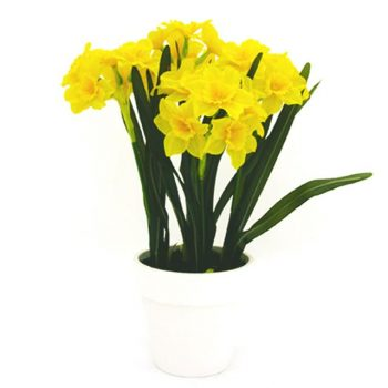 Artificial daffodils in pot