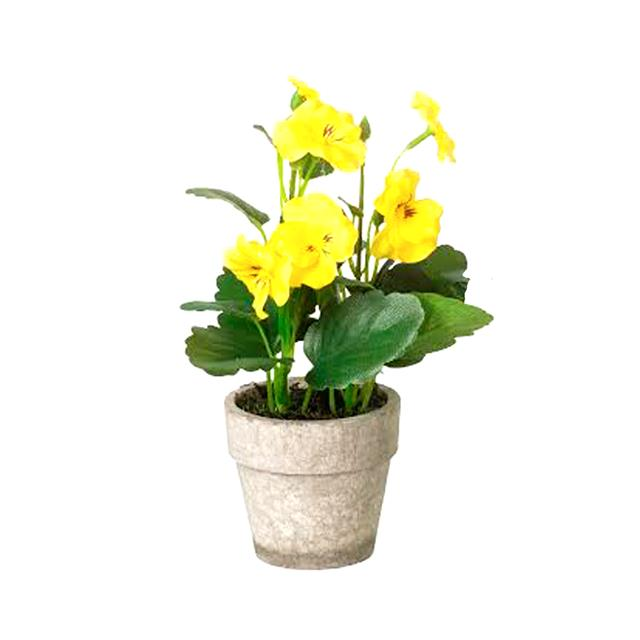 Artificial Potted Pansy Bush Yellow Flowers Shelf Edge