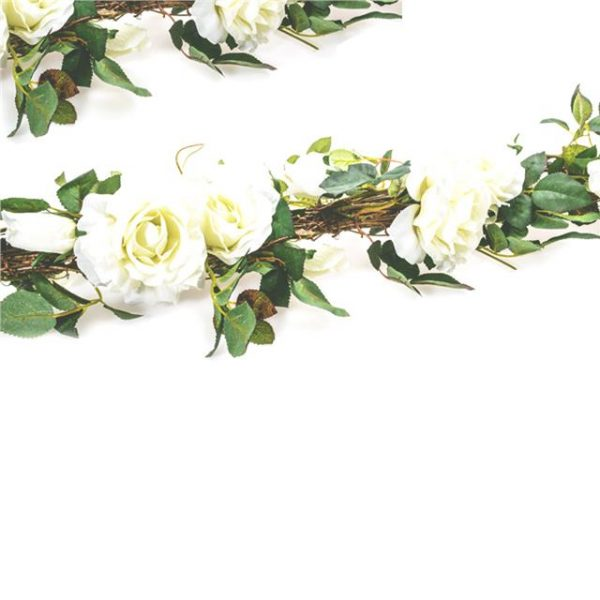 white artificial roses on a garland