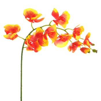 Artificial Moth Orchid Flower Stem Orange/Yellow