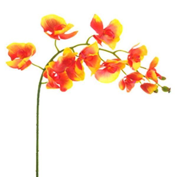 Artificial Moth Orchid Flower Stem Orange/Yellow