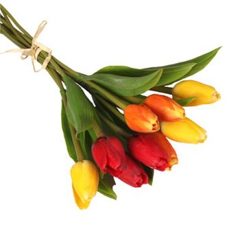 bunch of red, yellow and orange artificial tulips
