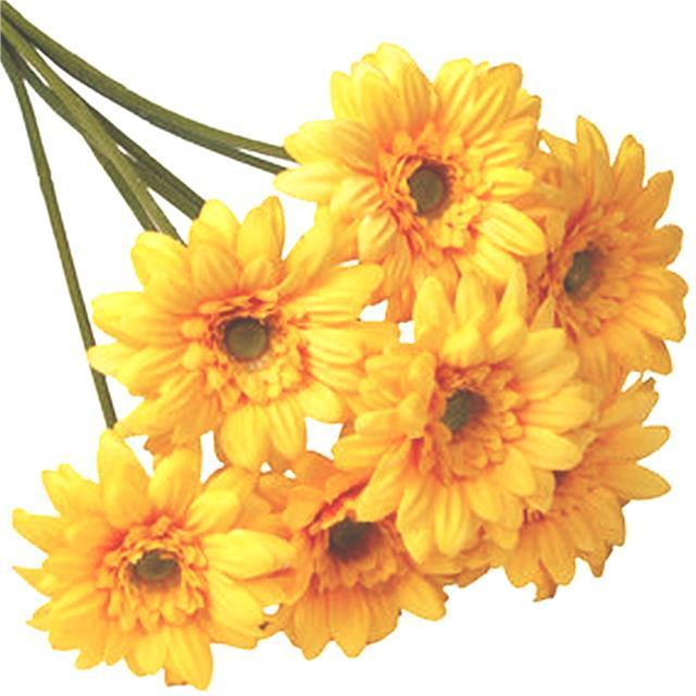 Artificial 47cm Gerbera Bundle Yellow Decorative Silk Flowers