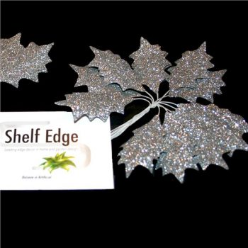 Glittered Silver Holly Leaves