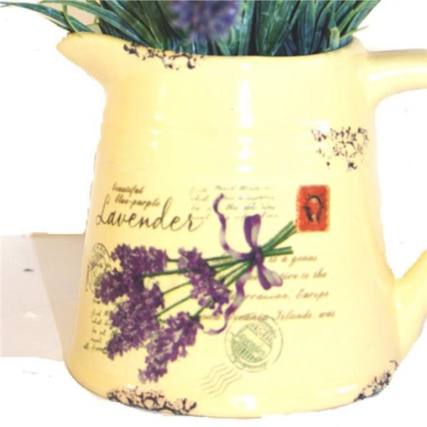 cream jug decorated with artificial lavender