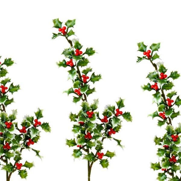 artificial holly spray with variegated leaves pack of three