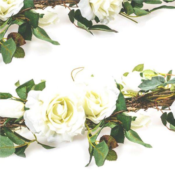 premium garland of white artificial roses