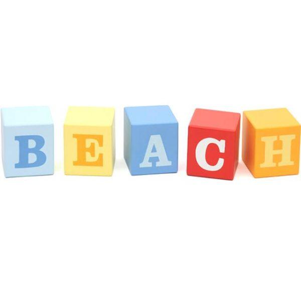 colourful block beach themed signs