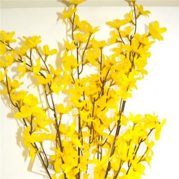 bright yellow artificial forsythia spray