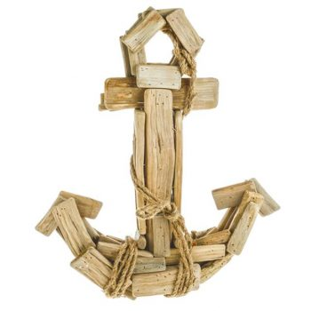 wooden anchor with rope detailing