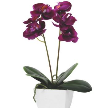 Artificial Potted Fuschia Orchid Plant
