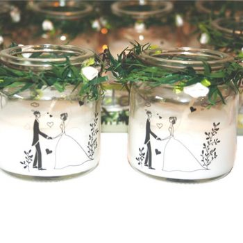 Bride and Groom Glass Candles