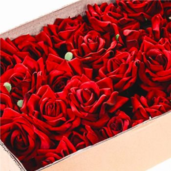 box of wired artificial red velvet roses in red