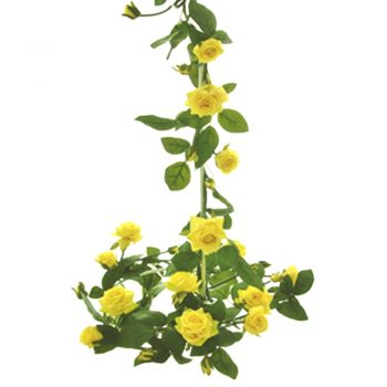 garland of yellow artificial roses