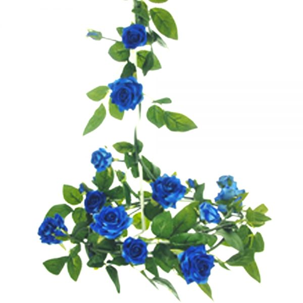 blue rose garland with green foliage