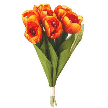 bunch of fake orange tulips