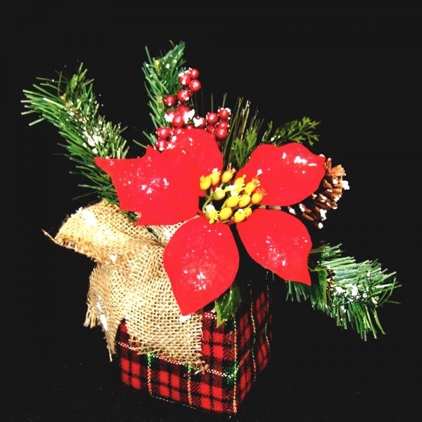 artificial Poinsettia Plant in tartan pot