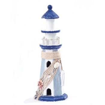 wooden blue and white lighthouse decor
