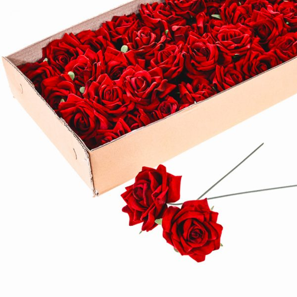 red velvet roses in a box