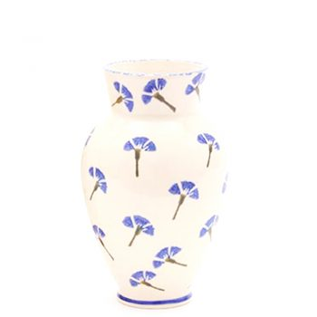 Blue Cornflower Vase - Hand Painted