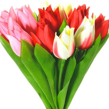 red, white and pink artificial tulips in a bunch