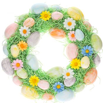 Easter wreath with eggs and artificial daisies