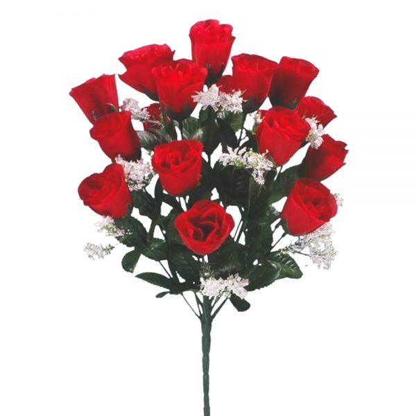 artificial roses 18 head red rose flower bush