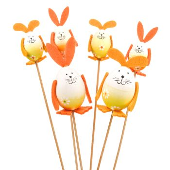 Easter bunny picks made from artificial eggs