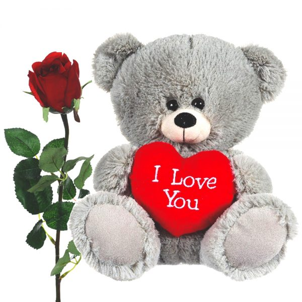 Grey love heart bear with artificial red rose